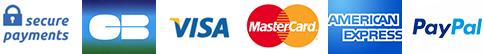 mastercard, visa, ameciran express, paypal